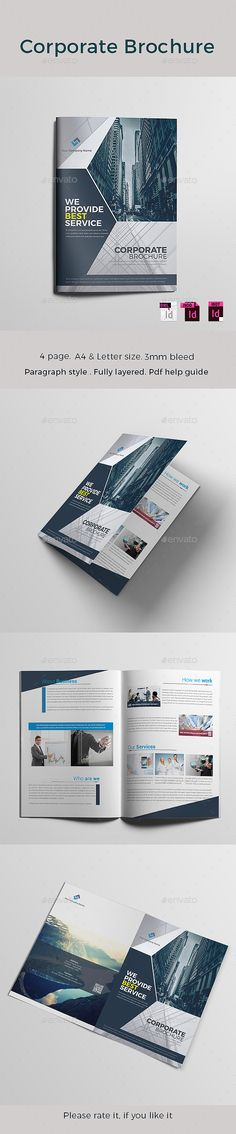 Corporate Brochure Template InDesign INDD Unlimited Downloads - 4 page brochure template