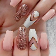 Images result for Autumn Nails design almond shape - WooHoo - Nageldesigns - Pink Acrylic Nails, Pink Nails, My Nails, Fall Nails, Glitter Nails, Gold Glitter, White Nails, Gold Gradient, Gold Nail