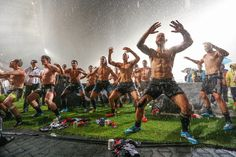 My happy place... New Zealand Sevens Rugby players celebrate their win over England and overall Hong Kong Sevens tournament in the rain, doing the Haka.  Do you really need to ask why I love rugby? #rugby #rugby7s #newzealandallblacks