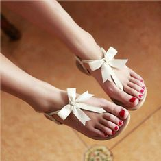 Features: Cowhide, Ribbons, BowHeel Height: 1 cmPlatform Height: - cmColor: Beige, TanSize: US Measurement In Cm And Please Note Flat Sandals, Flip Flop Sandals, Bow Flip Flops, Rothys Shoes, Jelly Shoes, Just Girly Things, Bow Design, Wedding Shoes, Summer Sandals