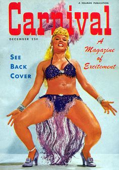 "Lilly ""The Cat Girl"" Christine graces this very colorful cover of 'CARNIVAL' magazine; a popular 50's-era Men's Pocket Digest.."