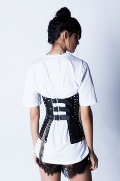 Patent real leather corset dress with studs, fringe details. Leather Corset, Fashion Backpack, Blues, Ruffle Blouse, Shopping, Collection, Tops, Women, Women's