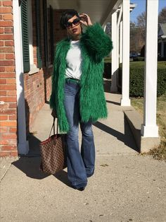Green Faux Fur Faux Fur, Fur Coat, Green, Jackets, How To Wear, Style, Fashion, Down Jackets, Swag