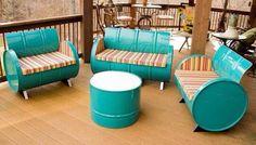 Metal barrel patio set