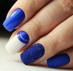 # Blue W/ White Nails