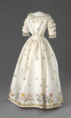 "1840s gown, with ""repurposed"" embroidery from 2nd half of 18th c."