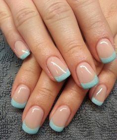 Baby Blue and Glitter Inspired French Manicure.