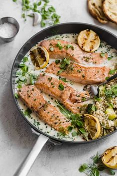 pan seared salmon with a parmesan pan sauce! so fresh and vibrant!crispy pan seared salmon with a parmesan pan sauce! so fresh and vibrant! Seared Salmon Recipes, Pan Seared Salmon, Seafood Recipes, Dinner Recipes, Party Recipes, Fish Recipes, Dinner Ideas, Chicken Recipes, Frozen Salmon