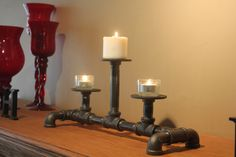 Cast Iron Candle Holder -  Urban Industrial Style Decore - Rustic Charm Candle Stick Holder by PipesandLights on Etsy https://www.etsy.com/listing/253640821/cast-iron-candle-holder-urban-industrial