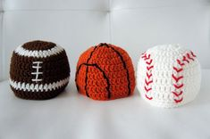 Crochet Baby Hats Sports Hats, Baseball, Basketball, Football, Crochet Sports ...