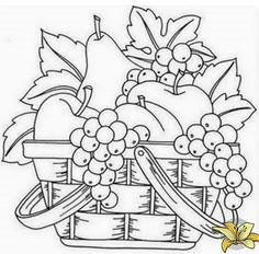 a basket of fruits drawing a basket of fruits drawing fruit coloring basket pages fruits best images on drawings skillful fruit fruits basket drawing style Fruit Coloring Pages, Coloring Book Pages, Printable Coloring Pages, Fruit Basket Drawing, Embroidery Patterns, Hand Embroidery, Fruits Drawing, Digi Stamps, Pictures To Draw