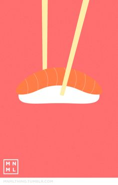 "Guest Artist:  ""MNML Sushi"" by Spencer Harrison  For more of  Spencer's work, you can visit his Tumblr.  Follow his wonderful blog http://www.mnmlthing.com/ where he post a new minimalistic illustration everyday."