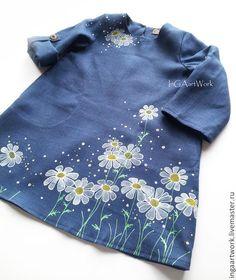 """Купить Льняное детское платье. """"Ромашковое"""" Ручная роспись. - синий, лен, льняное платье"""