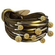 Gillian Julius Multi Tube Bracelet, Brass & Two-Tone Diamond Balls | Olive Cord. Multi strand bracelet consisting of 20 waxed cotton cords. Each cord of bracelet features a brass tube with two-tone cubic zirconia accents. $365