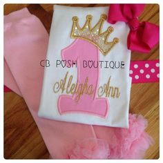 Pink and Gold Personalized Birthday Shirt Set or onesie...Perfect for the Birthday PRINCESS! Solid embroidery. Quick turn around time. RUSH OPTION AVAILABLE. Complete with pink leg warmers and hot pink bubblegum bow.  https://www.etsy.com/listing/233859584/princess-tiara-personalized-birthday?ref=shop_home_active_1