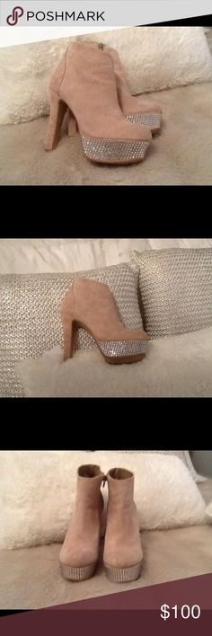 Steve Madden tan suede high heeled booties w/bling Show stopping-where'd you get those booties by Steve Madden. Crazy-sexy high heel booties with a row of attention getting bling around the front. They'll see you coming, and going.  Hot, hot Hot! Steve Madden Shoes Ankle Boots & Booties