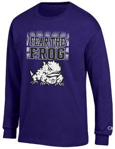 new arrival 99936 f0199 TCU Horned Frogs Purple Champion Fear The Frog Long Sleeeve T Shirt  24.95  Fan Gear,