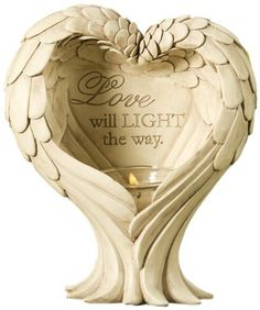 Gift Craft 8.3-Inch Polystone Design Tea Light Holder with Glass Candle Cup, Love Will Light The Way Angel Wing and Heart, Small, Ivory by Gift Craft. $51.15. Outdoor safe. Durable polystone construction. Perfectly suited for both indoor and outdoor décor. Add a touch of inspiration and soft glows of light to your garden with the angel inspired free-standing votive candle holder. crafted in polystone with an antiqued ivory finish, the heart shaped design features angel ... Votive Candle Holders, Votive Candles, Feather Angel Wings, Altered Tins, Glass Candle, Shape Design, Tea Light Holder, Craft Gifts, Tea Lights