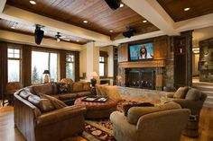 Delicieux Rustic Fireplace Design Ideas, Pictures, Remodel, And Decor   Page 8 Love  The Living Room For A Lake House But Love The Tv Above The Fireplace In Any  House