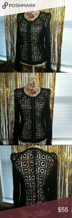 X AND O CROCHET KNIT JACKET XL WITH FAUX LEATHER Black faux leather trim JUNIORS XL. WORN 1 TIME ONLY. x and o Jackets & Coats Blazers