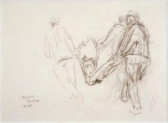 dachau concentration camp art | Zoran Music, Dachau, Corps emporté par trois hommes , 1945