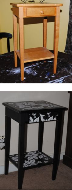 Before and After Decoupage table restyled with scrapbook paper and Mod Podge
