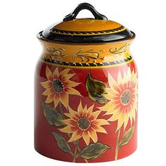 Sunflower Cookie Jar, perfect to use as a csnister also, set of two or three would do it!  :-) love the dip plate and bowl set my kids got me thst matches! :-)