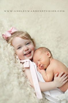Sibling pose- for newborn and sibling. Safe pose for older toddlers to hold new baby sibling.