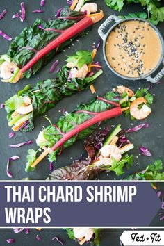 These Thai Chard Shrimp Wraps with Peanut Sauce are Paleo-friendly a breeze to whip up keep well for a make-ahead lunch option and are packed with colorful affordable summer vegetables! Healthy Living Recipes, Clean Eating Recipes, Lunch Recipes, Healthy Meals, Free Recipes, Paleo Meal Prep, Paleo Dinner, Shrimp Spring Rolls, Shrimp Rolls