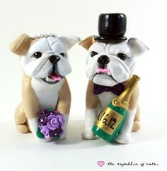 quirky cake toppers that are handmade just for you? These delightfully quirky cake toppers by The Republic of Cute feature unique . Wedding Cake Toppers, Wedding Cakes, Bulldog Cake, Polymer Clay Sculptures, Dog Cakes, Engagement Cakes, When I Get Married, Wedding Details, Wedding Ideas