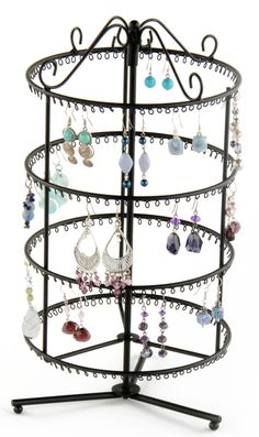 Rotating Jewelry Display for 132 Pairs of Earrings, 4 Tiers, Round - Black