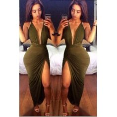 Cheap Sexy Halter V Neck Tank Sleeveless Backless Side Split Green Blending Ankle Length Dress #PinoftheDay @iamalovelywoman