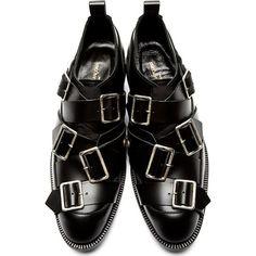 Comme des Garçons Black Leather Buckle Oxfords