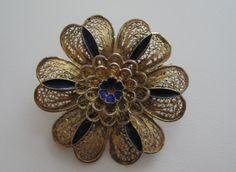 Vintage Brooch Pin Portuguese Vermeil Flower Filigree Gold w/ Blue Enamel Accent   eBay