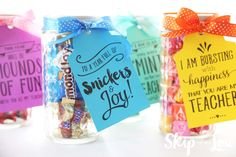 Sweet talk your teacher with candy gram teacher gifts. A fun way to celebrate back to school. Free printable tags you pair with candy.