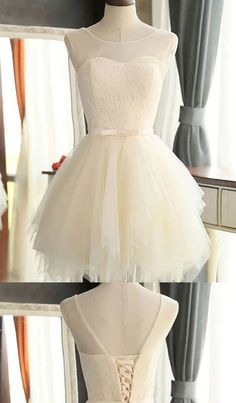 Ivory Homecoming Dresses, Short Prom Dresses, Short Ivory Prom Dresses With