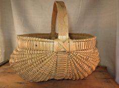 Gathering Buttocks Basket Hand Woven Ash Splint by WrensAttic