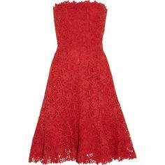 Valentino Strapless cotton-macramé lace dress ($6,980) ❤ liked on Polyvore