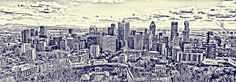 Montreal skyline from Mount-Royal, a monochrome version of the original photograph, in blue. Sold on Fine Art America to a buyer from Montreal.