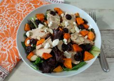 #ad Chicken and Sweet Potato Cherry Salad #GoTart - A sweet, savory salad made with juicy baked chicken, roasted sweet potatoes and tart dried cherries drizzled with a cherry balsamic vinaigrette.