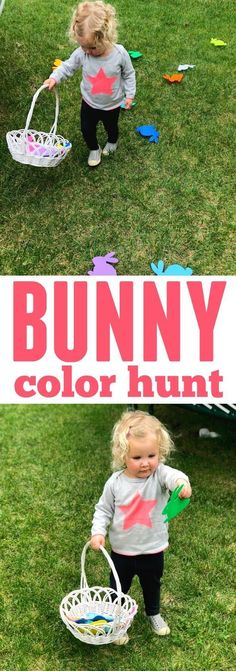 Bunny Color Hunt for Toddlers- this easy Easter themed activity only requires two things! activities eyfs Bunny Color Hunt for Toddlers Easter Activities For Toddlers, Easter Games, Spring Activities, Easter Crafts For Kids, Toddler Crafts, Toddler Games, Holiday Activities, Easter Ideas, Easter Hunt
