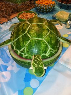 My brother did such a good job carving this watermelon!! Everything turtle at our baby shower!!!
