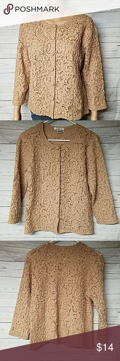 Gorgeous Coiled Wool Over Nylon Lace Cardigan Size LARGE Super cute 6 button down front coiled design cardigan in a tan, almost camel color. Goes great with a pair of slacks or skirt for a dressy look, or even with a pair of boots & jeans. In great used condition. DRY CLEAN  82% Wool 18% Nylon I D I By MATTHEW I D I By Matthew Sweaters Cardigans
