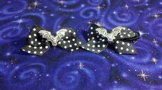 Mini Bat Hair Bows Black and White Polka Dot by Th1rte3nsCloset, $6.00