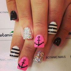 Pink and Black Nautical Nail Design Accented with Anchors.