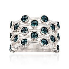 .75 ct. t.w. Dotted Blue Diamond Ring in Sterling Silver