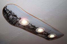 Ceiling lamps - skateboard ceiling lamp berlin - a unique product by haegendas . - Ceiling Lights – Skateboard Ceiling Lamp Berlin – a unique product by haegendas on DaWanda - # Skateboard Lampe, Skateboard Furniture, Skateboard Light, Ikea Deco, Cool Rooms, Diy Furniture, Decoration, Diy Home Decor, Kids Room