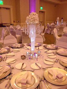 Elegantly lit crystal centerpieces in the Palms Ballroom | Wild Dunes Resort Weddings | December 2014 | Charleston, SC Beach Weddings | #WildDunesWeddings