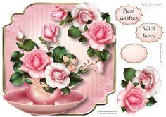 Beautiful Blush Roses - Teacup & Saucer - CUP727312_1763 | Craftsuprint