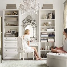 Build your dream space with RH Teen's classic modular closet system ($499-$749). The French rococo etched mirror ($895) and the manor court crystal chandelier ($399-$749) are just extra.